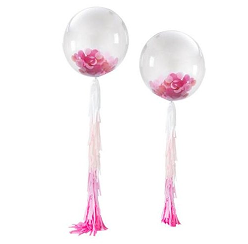 Fascola 2ps 36' Confetti Balloons Jumbo Latex Balloon Paper Balloons Crepe Paper Filled with Multicolor Confetti with Paper Tassel for Wedding Party Decorative (Pink Girl Round)