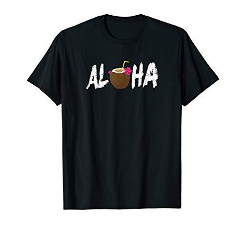 Aloha Shirt mit Kokosgetränk Hawaii Urlaub T-Shirt