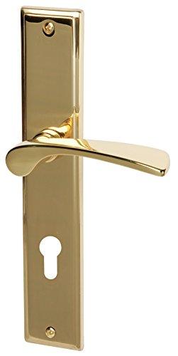 Süd-Metall 32215850 Zuidmetaal deurbeslag Elvis-langschild complete set in messing gepolijst voor voordeuren van woningingingang, deurklink, deurklink, deurklink, deurklink, deurklink, beslag
