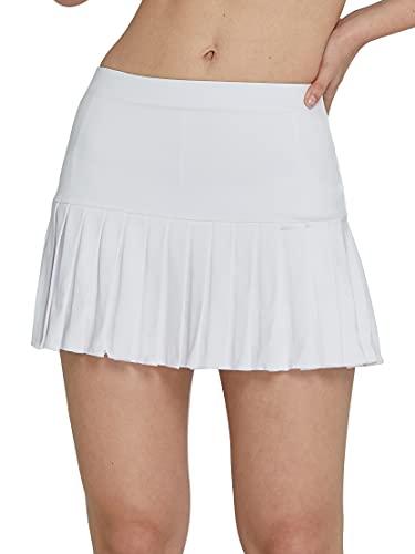 Westkun Falda Pantalón Deportiva de Mini 2 En 1 Falda para Mujer Corta Plisada EláStica Escuela Skorts Pantalones Cortos Incorporados de Golf Pilates Fitness Correr(Blanco,M)