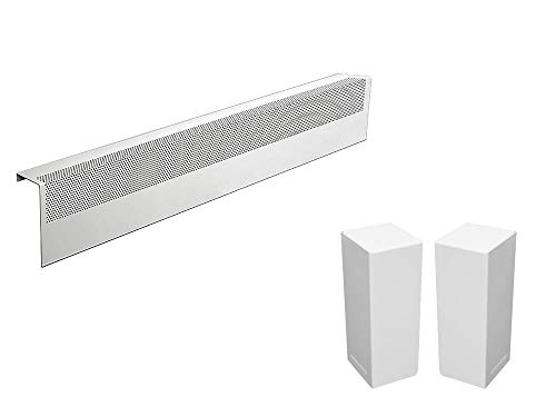 Baseboarders Basic Series Galvanized Steel Easy Slip-On Baseboard Heater Cover in White (3 ft, Cover + L&R End Caps)
