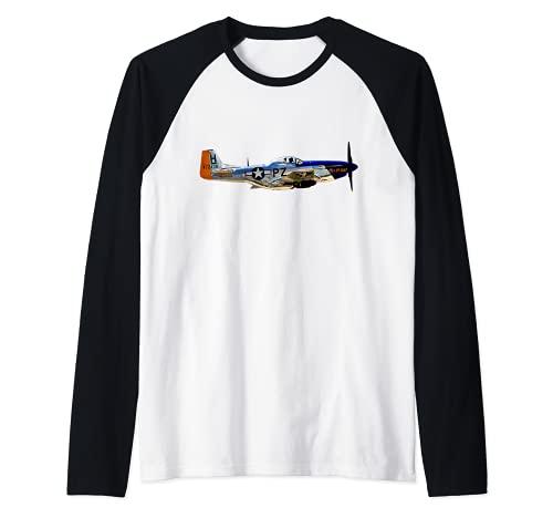 P-51 Mustang WWII Fighter Plane US Military Aviation Camiseta Manga Raglan
