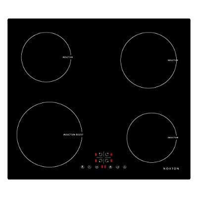 NOXTON Electric Induction Cooktop Boost Stove Built-in 4 Burners Induction Cooker Black Glass with Touch Control Child Lock Timer Hard Wire Easy Cleaning 6400W 220~240V