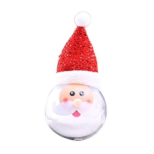 rongweiwang DIY de Navidad Adornos LED chucherías de plástico muñecos de Nieve de la Bola Bola de Navidad muñecos de Nieve del Ornamento de la decoración LED del árbol de Navidad Colgante