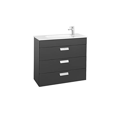 Lavabo + Mueble base 3 cajones Unik Debba Roca, 80 x 36 x 72 centímetros, color gris (Referencia: A857128153)
