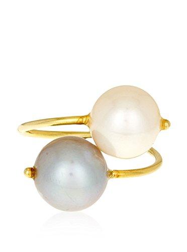 Córdoba Jewels | Anillo en Plata de Ley 925 bañada en Oro. Diseño Tú y Yo Perla de Cultivo Natural y Púpura Diamantada Oro