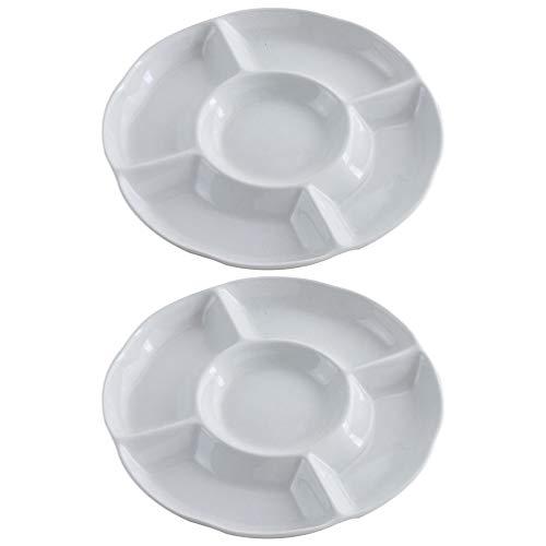 Hemoton 2 Stück Dip/Snack Schalen,5-Fach unterteiltem Melamin-Menüteller/Antipasti-Teller, Appetizer Tray, Sharing Platte für frische Snacks