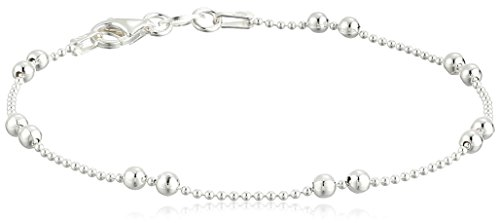 Sterling Silver Tarnish Free Shot Bead Bracelet with Double Bead Stations, 7.5'