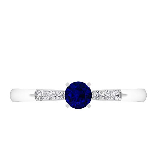 Rosec Jewels 14 quilates oro blanco redonda round-brilliant-shape H-I Blue Diamond Blue Sapphire