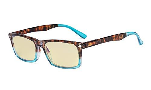 Eyekepper Readers UV-bescherming, anti-schittering bril, Anti blauwe stralen, lente scharnieren Computer leesbril +1.00 Strength Tortoise-blauw Frame-bb60 Lens