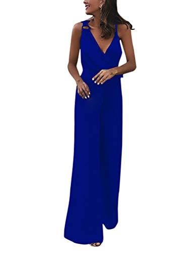 Minetom Femmes Chic sans Manches Combinaisons Élégant Col V Large Jambe Longue Pantalon Jumpsuit Taille Haute Soirée Parti Cocktail Rompers Bleu FR 38