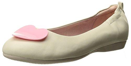 Oliva-05 bailarina plegable con el talón elástica y de color rosa crema detalle del corazón - Rockabilly de la vendimia - (UE 39 = US 9) - Pin Up Couture