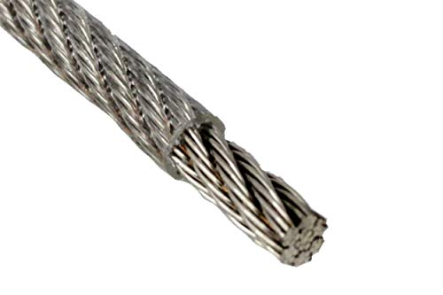 Drahtseil 3 / 4mm 10 Meter Geländerseil 3/4mm Edelstahl 7X7 ummantelt PVC klar EN 1.4401 mittelweich A4 NIRO, Nirosta