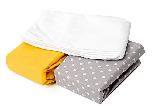 Juego de 2 sábanas bajeras + 1 protector de colchón impermeable, 120 x 60 cm, 3 unidades, 100% algodón certificado Öko-Tex (gris lunares y amarillo) fabricado en Europa