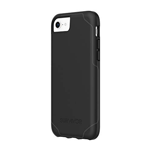 Griffin Survivor GIP-043-BLK - Carcasa rígida para Apple iPhone SE (2020), 8, 7, 6S y 6 (Negro), estándar Militar I, Extremadamente Resistente, Ultrafina, Compatible con Qi, amortiguación de Golpes