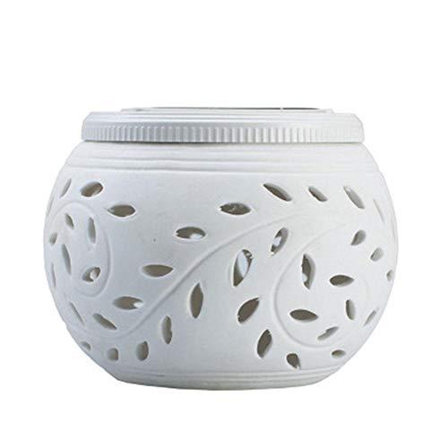 Luz solar decorativa solar de cerámica hueca de colores, lámpara de mesa hueca para césped, luz de noche, 100 x 80 mm.