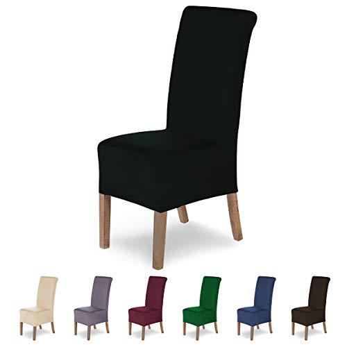 SCHEFFLER-Home Stretch Stuhlhusse Lena, 4er Set elastische Stuhlabdeckungen, Stuhlhussen Schwingstühle, Spannbezug mit Gummiband, Elegante Stuhlbezüge