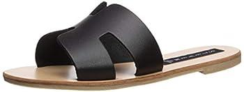 STEVEN by Steve Madden Women s Greece Flat Sandal Black Leather 7.5 M US
