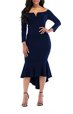 onlypuff Fishtail Dresses for Women Midi Bodycon Dress Long Sleeve V Neck Cocktail Dress