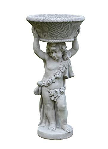 Gartendekoparadies.de Massive Statue Jongen Engel als bloemenzuil Plantenbak schaal van gegoten steen, vorstbestendig