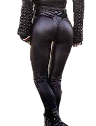 Oneforus Donna Donna Leggings Push-up in Pelle Sintetica Nera Push-up Pantaloni Jeggings Pantaloni a Vita Alta