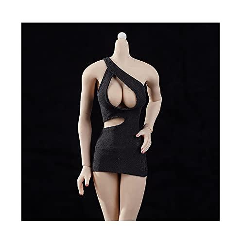 QQAA 1/6 báscula femenina de personaje muñeca disfraz ropa para muñeca modelo ropa ropa de ropa tentadora monos vestido para mujer 12 pulgadas cuerpo sin costuras excelente Vera Black-B