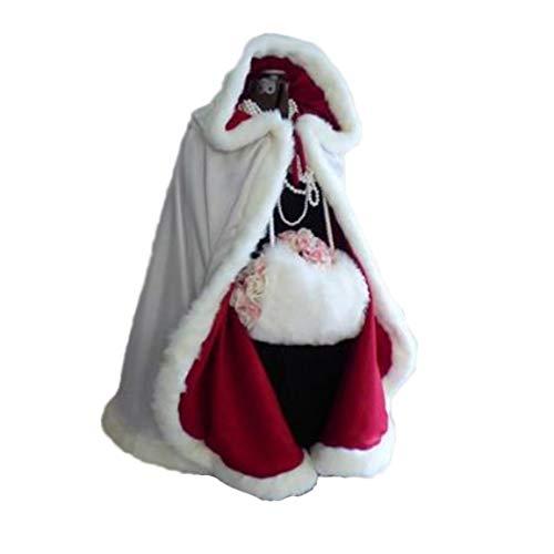 Mujeres Niñas Navidad Señora Papá Noel Capa Traje de Navidad Velet Capa con Capucha con Ribete de Piel Boda Nupcial Cappa Cape Robe (Blanco, Un tamaño)