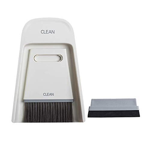 XLKJ Mini Recogedor Cepillo de Limpieza de Escobas, Recogedor y Cepillo, Mini Pequeño de Escoba Pala de Mano para Oficina, Hogar (Blanco)