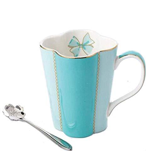YBK Tech Euro Style Art Bone China Ceramic Tea Cup Coffee Mug for Breakfast Home Kitchen (Clover Design) (Blue)