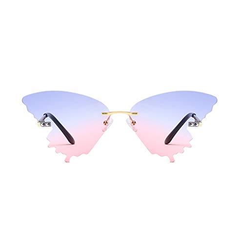 Xniral Unisex Sonnenbrille Sommer Schmetterlingsform Farbverlauf Brille(C)