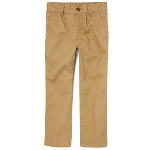 The Children's Place boys Pleated Chino School Uniform Pants, Flax, 12 Husky