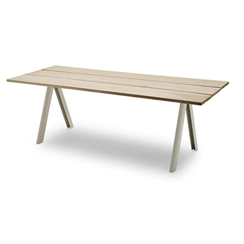 Skagerak Overlap tuintafel, cederhouten frame zilver wit gelakt 200 x 90 x 74 cm