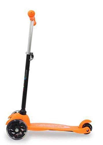 JAMARA 460496 - KickLight Scooter - Lenker höhenverstellbar, bewegliche Lenkstange zur Richtungsänderung, kugelgelagerte leuchtende, 3 Räder für stabiles Fahren und Hinterradbremse, orange