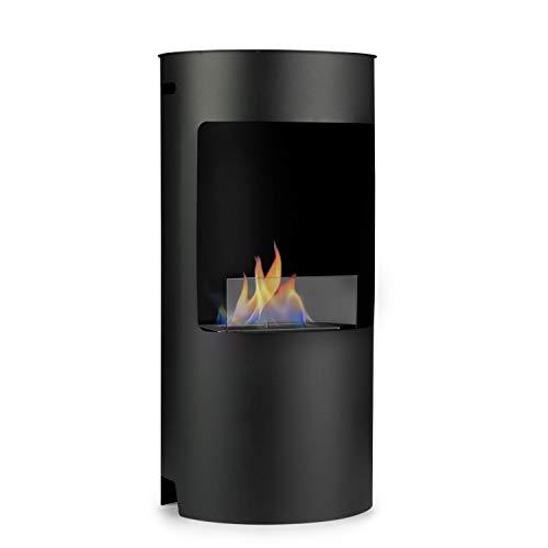 Klarstein Phantasma Niro - Ethanol-Kamin, Standkamin, Sicherheitsbrenner mit 1,5 L, 3,5 Stunden Brenndauer, 25-30 m², Löschhilfe, geruchsneutral, Sicherheitsglas, schwarz