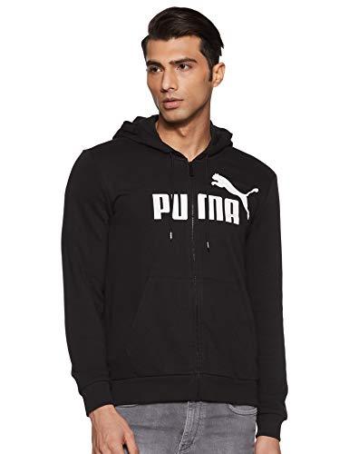 PUMA ESS FZ Hoody TR Big Logo Sweatshirt, Hombre, Puma Black, L
