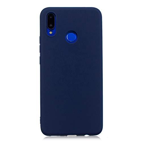 cuzz Custodia Huawei Nova 3i / P Smart Plus+{Film di Vetro temperato}Silicone TPU Cover Morbida Protettiva Custodia Ultra Sottile Leggero Cover-Blu Scuro