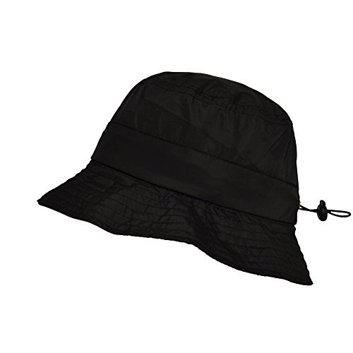 TOUTACOO, Bob Imperméable en Nylon repliable dans sa poche intégrée, Chapeau de pluie, Noir, Taille unique 57/58 cm Max