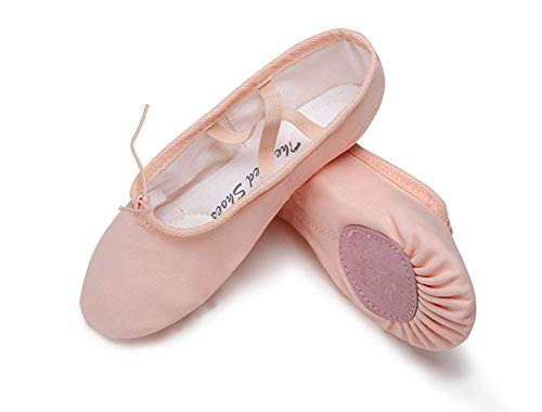 ZTT Ballettschuhe Tanzschuhe Für Kinder Mit Weichen Sohlen Damen-Katzenkrallen-Trainingsschuhe Flache Gymnastik-Yoga-Schuhe Aus Segeltuch Dicke, Stoßdämpfende Sohlen,Rosa,35