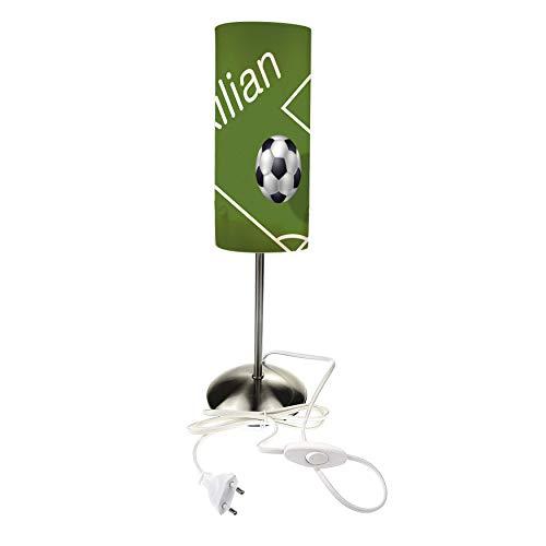CreaDesign TI-1019 Fußball Nachttischlampe Kinderzimmer mit Namen, Kinder Tischlampe/Schlummerlicht mit Schalter für Steckdose, E14, 38 cm hoch