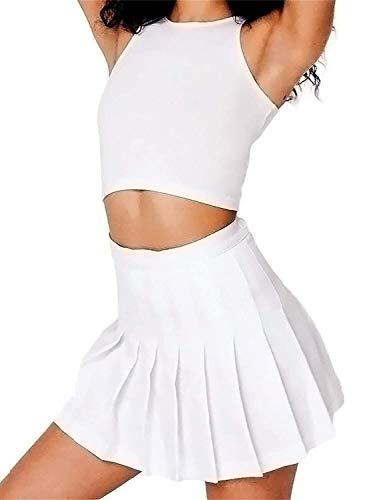 Patinador de Cintura Alta para Mujer Patinador de Adolescentes para Adolescentes A-Line Mini Falda de Tenis Falda de Tenis Uniforme con Pantalones Cortos de Forro (Color : XX-Large, Size : Black)