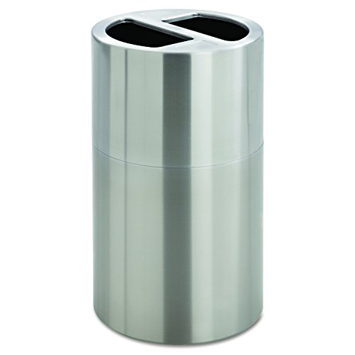 Safco Products 9931SS Dual Bin Waste Recycling Trash Can, Silver