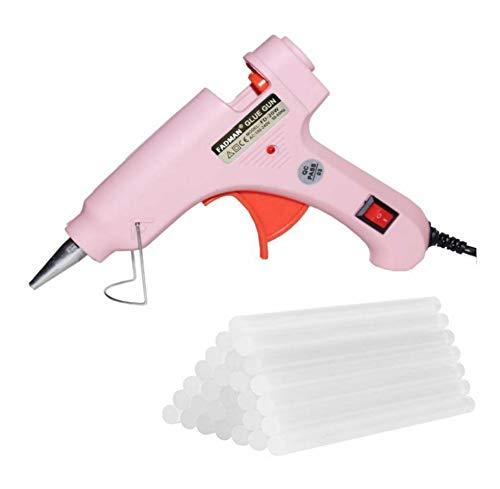 Fadman Electric 20W Pink Mini Hot Melt Glue Gun With 30 Pcs Hot Melt Glue Stick Standard Temperature Corded Glue Gun (7 mm)