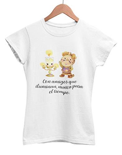 Camiseta frase original Bella y bestia Lumiére Ding dong amigas