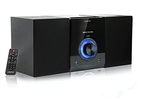 Sistema Micro Audio Domestico CD Mini Impianto Stereo Hi-Fi 30W con Bluetooth, USB, radio FM, MP3, CD-R / CD-RW, telecomando, Lettore CD Design Stereo Compatti