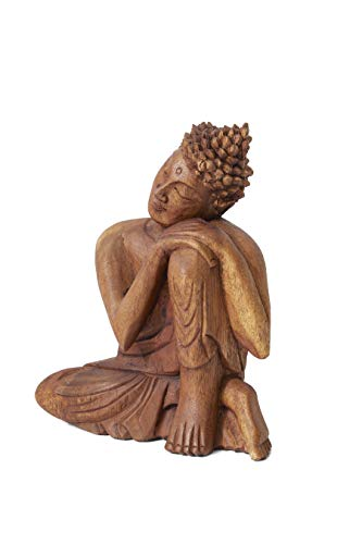 Serene Spaces Living Wooden Buddha Statue, Beautifully Carved from Teak Wood, Ideal for Meditation, Outdoor Zen Decor, Serenity at Home, Measures 10.5' Tall, 8.5' Long & 3' Wide