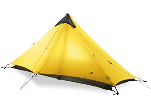 3F UL GEAR 2018 LanShan1 Outdoor 1 Person Ultralight Camping Tent 3 Season Professional 15D Silnylon Rodless Tent (Yellow)