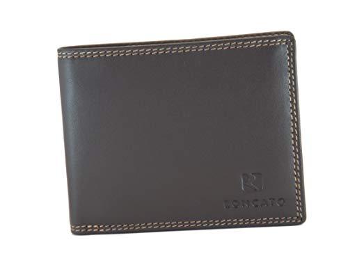 EDEN Roncato Portefeuille pour homme en cuir véritable avec porte-monnaie et rabat porte-cartes de crédit - Marron - L
