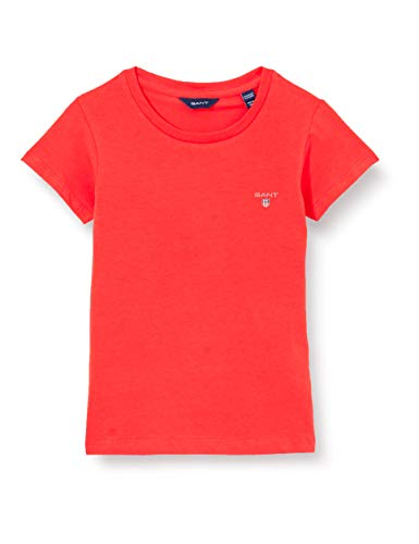 GANT D1. The Original Fitted SS T-Shirt Camiseta, Naranja ATÓMICA, 122/128 para Niñas