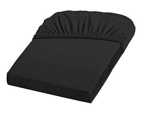 Dream Art 1130 Cora elastaan hoeslaken van jersey stretch (97% katoen, 3% elastaan), met elastiek rondom voor matrassen tot 25 cm hoogte, 180 x 200 cm, zwart