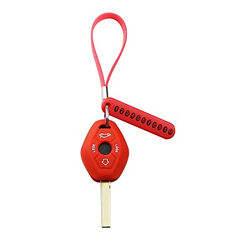 MOBFIDOFG Llaves de Coche Shell 3 unids/Set Coche de Clavija de Clavija con número de teléfono Llavero Llavero Llavero para BMW X3 X5 Z3 Z4 3 5 7 Serie E38 E39 E46 E83 4 (Color Name : Rojo)
